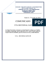 UTA. Comunicado Paro 48 17/07/19