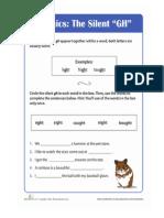 Worksheet in Silent Letter Gh
