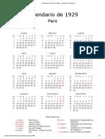 Calendario de Perú de 1929 _ ¿Cuándo en El Mundo