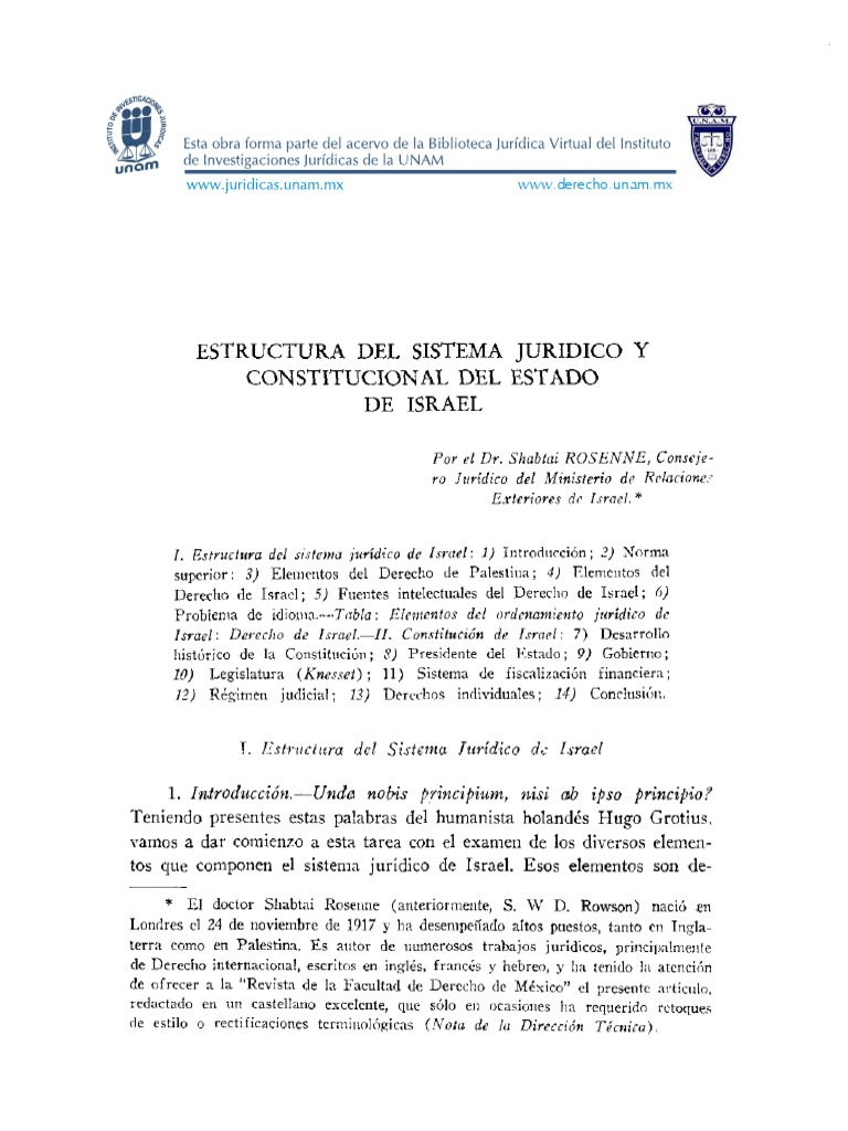 Estructura Del Sistema Jurídico Y Constitucional De Israel