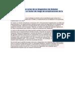 La Pérdida de Peso Antes de Un Diagnóstico de Diabetes Mellitus Tipo 2 Es Un Factor de Riesgo de Complicaciones de La Diabetes