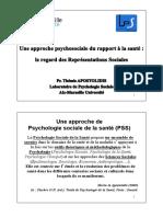 Sociale, Clinique - 2002 - La Psychologie Sociale de la Santé propose un ensemble de savoirs dans le domaine de la santé et de la m