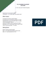 PCL ACADEMIC CALENDAR 2019–2020