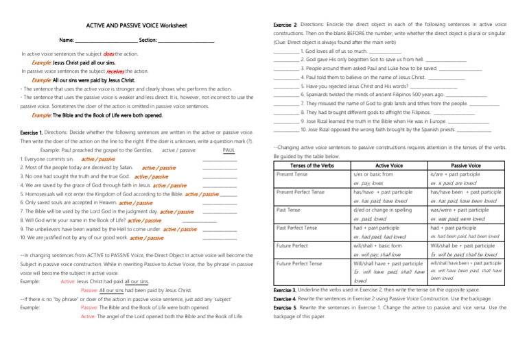 Active And Passive Voice Worksheet Perfect (Grammar) Grammatical Tense