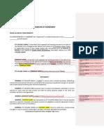 Sample of Memorandum of Agreement (MOA)