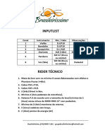 Input List e Rider Técnico Brasileiríssimo