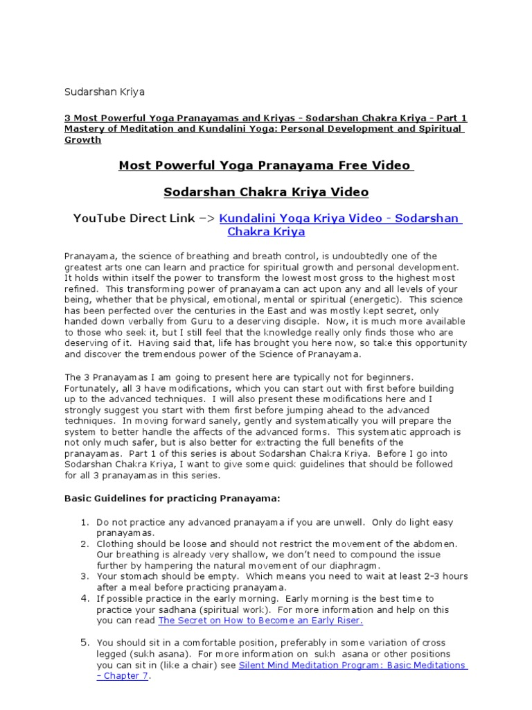 Most Powerful Yoga Pranayama Free Video Sodarshan Chakra Kriya Video