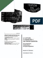 Goodman, Kenneth (1996). La Lectura, La Escritura y Los Textos Escritos. Una Perspectiva Transaccional Sociopsicolingüística