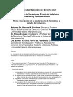 Ferrer Inscripcion de La Declaratoria de Herederos y Estado de Indivision