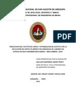 Reducción del Factor de Carga y Optimización de Costos con la Aplicación de Corte Cilíndrico en Arranque de Labores de Avance en Roca Sedimentaria Marga – Mina Animon - IESA