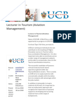 Lecturer in Tourism (Aviation Managemen... UNIVERSITY COLLEGE BIRMINGHAM | 83541