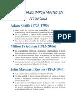 Personajes Importantes en Economia
