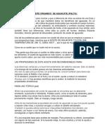 ACEITE ORGANICO DE AGUACATE