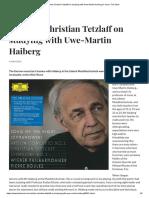Christian Tetzlaff on studying with Uwe-Martin Hailberg.