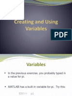 Creating Variables to MATLAB