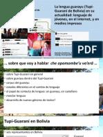 La lengua guarayu (Tupi-Guaraní de Bolivia) en su actualidad