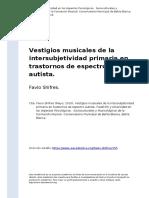 Favio Shifres (2010). Vestigios Musicales de La Intersubjetividad Primaria en Trastornos de Espectro Autista