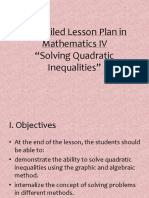 Lesson Plan in Quadratic Inequalities