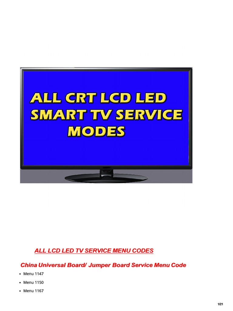 All Led Tv Service Modes | Display Technology | Computer