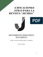Breve Manual de Estilo Para La Revista Jichha