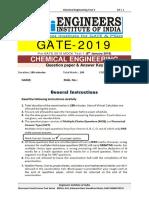 GATE 2019 Pre GATE Offline Paper 1 Chemical Engineering