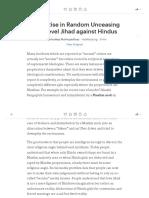 Sharp Rise in Random Unceasing Low Level Jihad Against Hindus