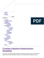 Creating a Business Requirements Document the IT BA
