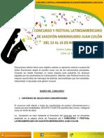 Bases Del i Concurso y Festival Latinoamericano de Saxofón Merenguero Juan Colón