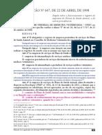 Resolução CFMV 647-98