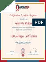 G Mellace Certificato di Profitto e Frequenza