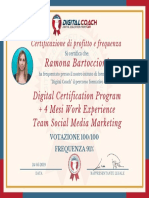 R. Bartoccioni Certificato di Profitto e Frequenza