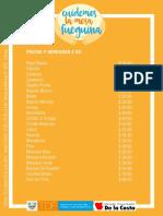 Lista de Precios Feria de La Costa 19 - 20 de Julio Ushuaia