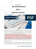 Audit and Assurance MCQ's Subjective Questions - PDF