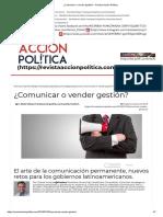 ¿Comunicar o Vender Gestión_ - Revista Acción Política