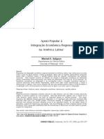 Apoio popular à Integração Economica Regional na America Latina