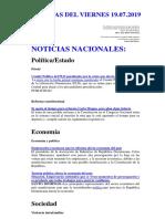 Noticias Del Viernes 19.07.2019