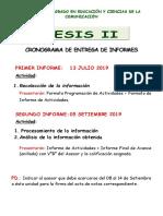 Cronograma Tesis II 2019-i