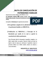 5 Documentos Minuta de Cancelación de Patrimonio Familiar