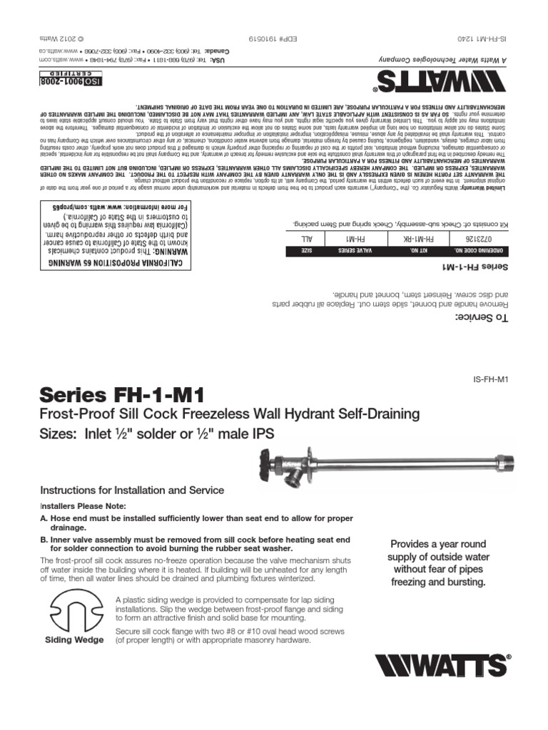 Series Fh 1 M1 Series Fh 2 M1 Installation Instructions Tap