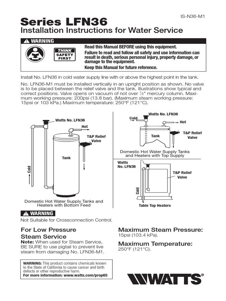 Series N36 M1 Lfn36 M1 Installation Instructions Water Heating Hvac