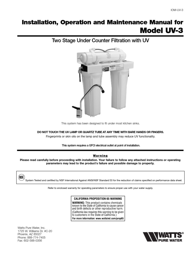 Installation, Operation and Maintenance Manual for Model UV-3 Installation  Instructions | Tap (Valve) | Sink
