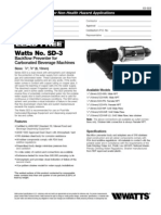 Lead Free Watts No. SD-3 Backflow Preventer for Carbonated Beverage Machines Specification Sheet