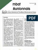 Combat Réunionnais n° 79, Avril, mai, juin 1987, UGTRF