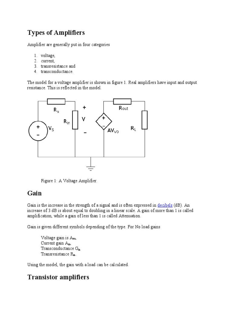 Types Of Amplifiers Amplifier Field Effect Transistor