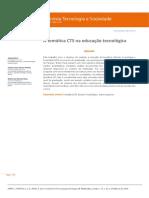 A Temática CTS Na Educação Tecnológica