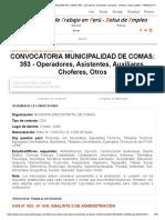 Convocatoria 2019 Municipalidad de Comas_ 353 - Operadores, Asistentes, Auxiliares, Choferes, Otros (Lima) - Trabajos Peru