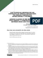 LAS CLÁUSULAS ABUSIVAS EN LOS CONTRATOS DE CRÉDITO HIPOTECARIO. UNA MIRADA COMPARATIVA ENTRE ESPAÑA Y COLOMBIA