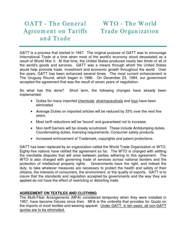 Wto And Gatt World Trade Organization Dumping Pricing Policy