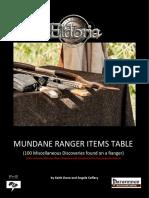 Mundane Ranger Items Tables