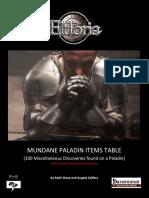 Mundane Paladin Items Tables